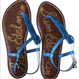 Sam Edelman Gigi Blue suede sandals flats 10